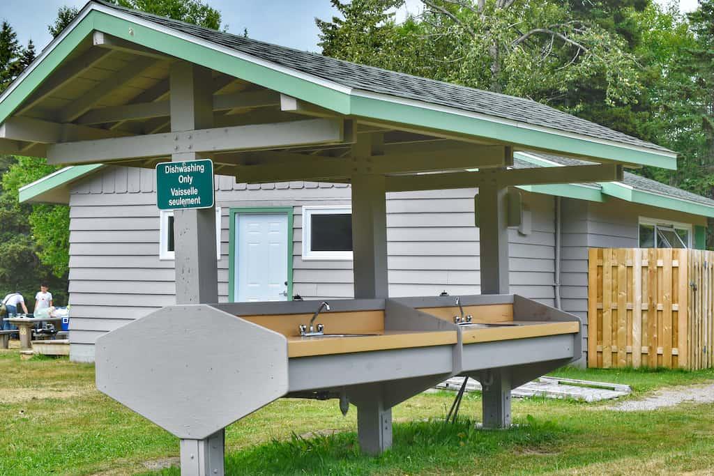 The dishwashing station at Ingonish Beach Campground in Cape Breton.
