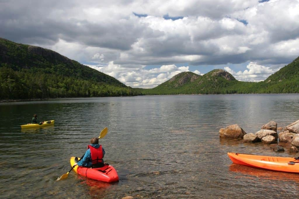 A few kayakers on Jordon Pond in Acadia National Park.