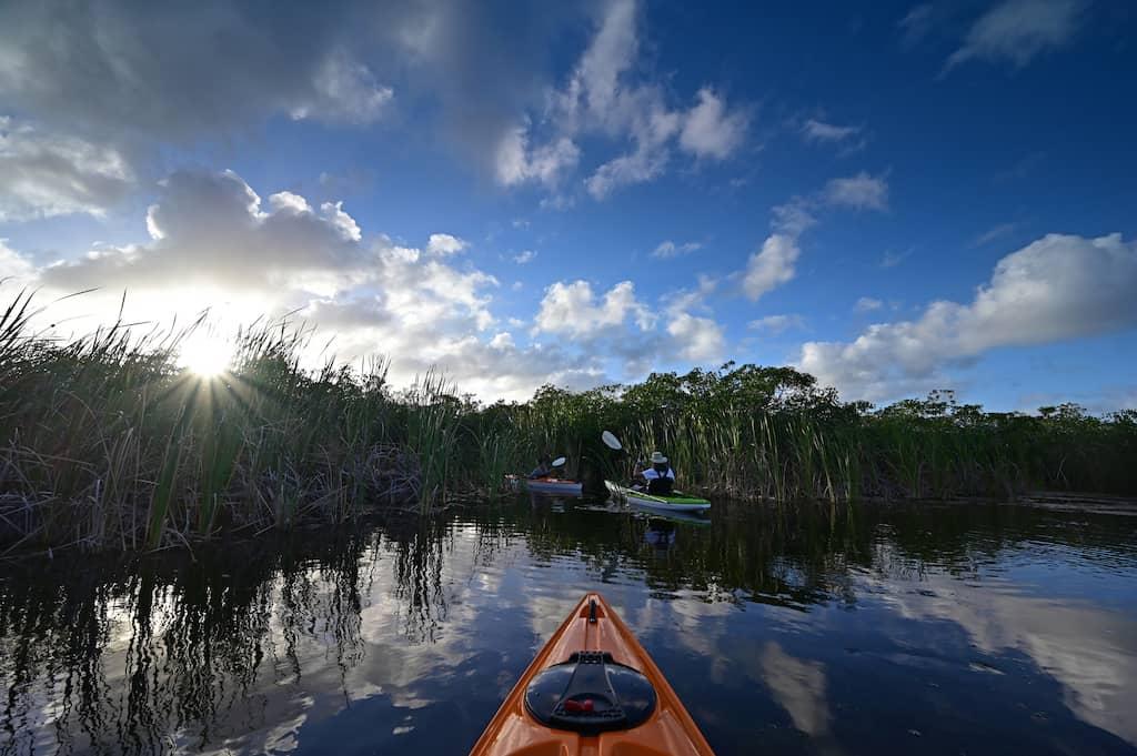 Kayaking on Nine Mile Pond in Everglades National Park, Florida.