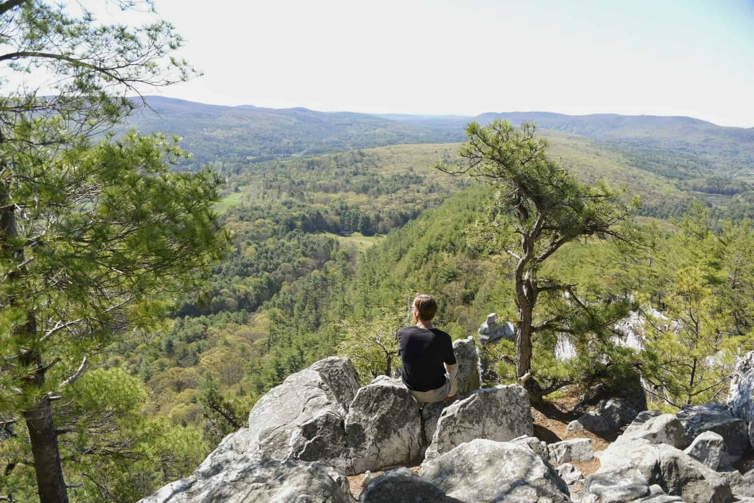 Enjoying the view from Devil's Pulpit on Monument Mountain in Great Barrington, MA.