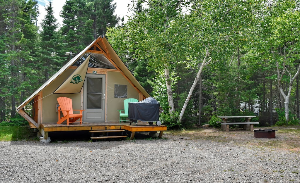 An oTENTik campsite available in Cape Breton Highlands National Park in Nova Scotia.