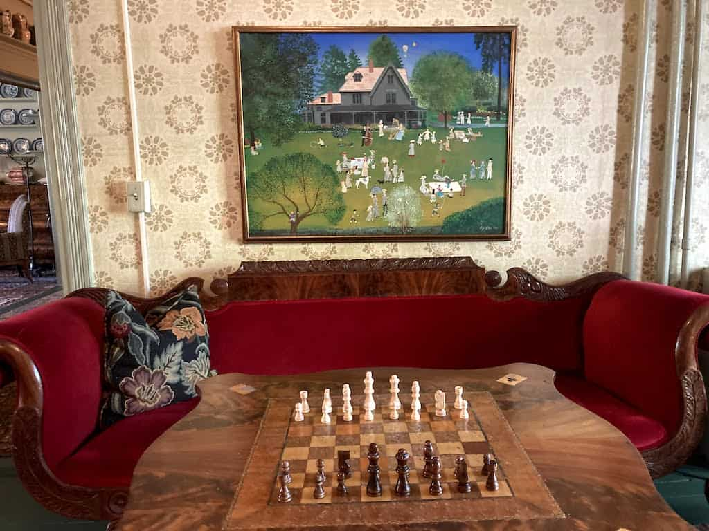 A chess board and seating area at the Red Lion Inn in Stockbridge, MA.
