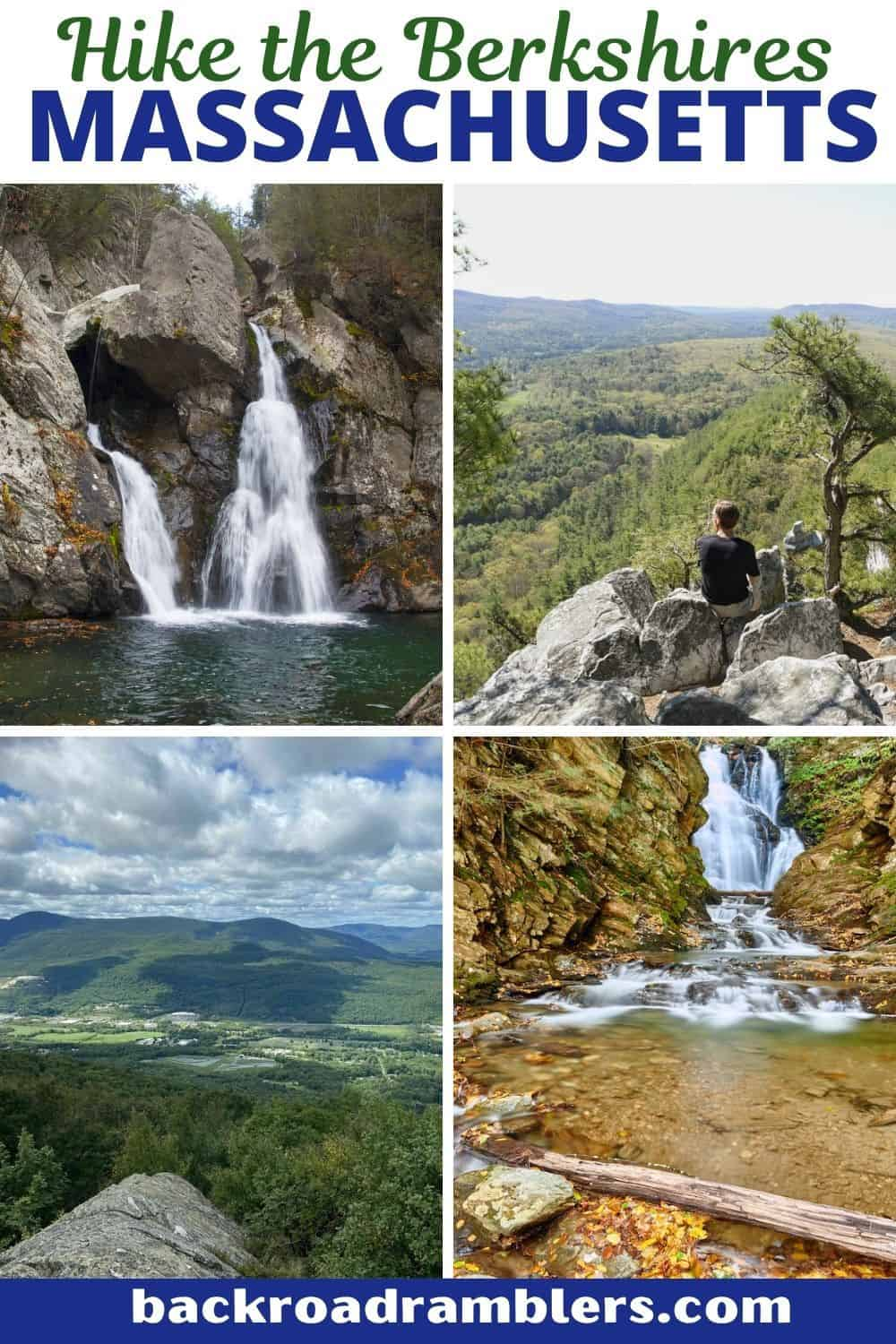 A collage of photos featuring the best day hiking in the Berkshires of Masachussets.