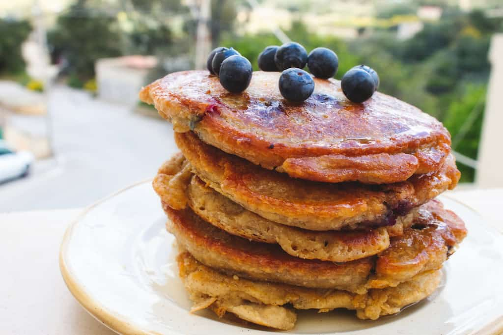 wild berry pancakes made while camping.