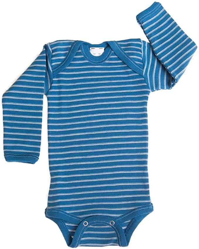 A blue and white striped wool onesie for babies available on Amazon.