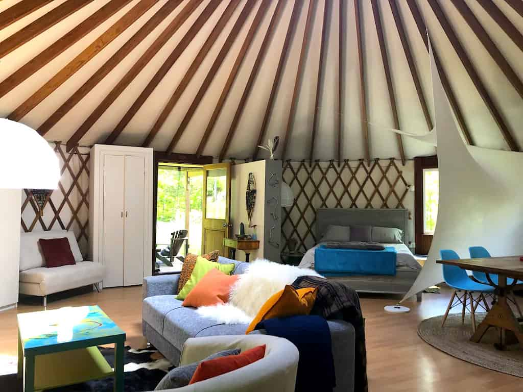 The inside of a yurt rental in Ulster Park New York.
