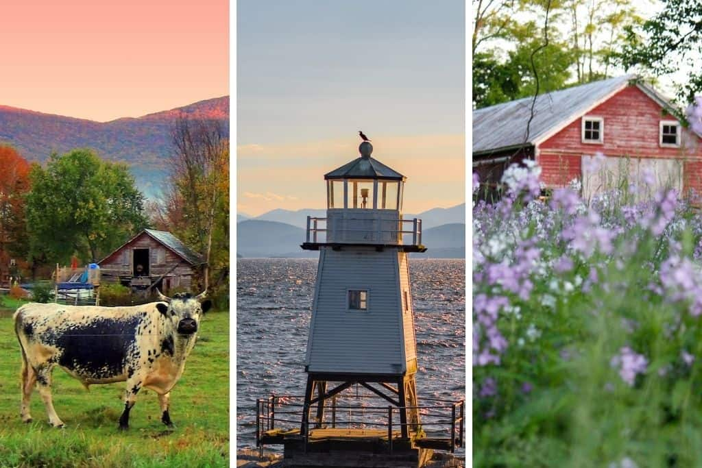 A collage of Vermont photos taken on a route 7 road trip.