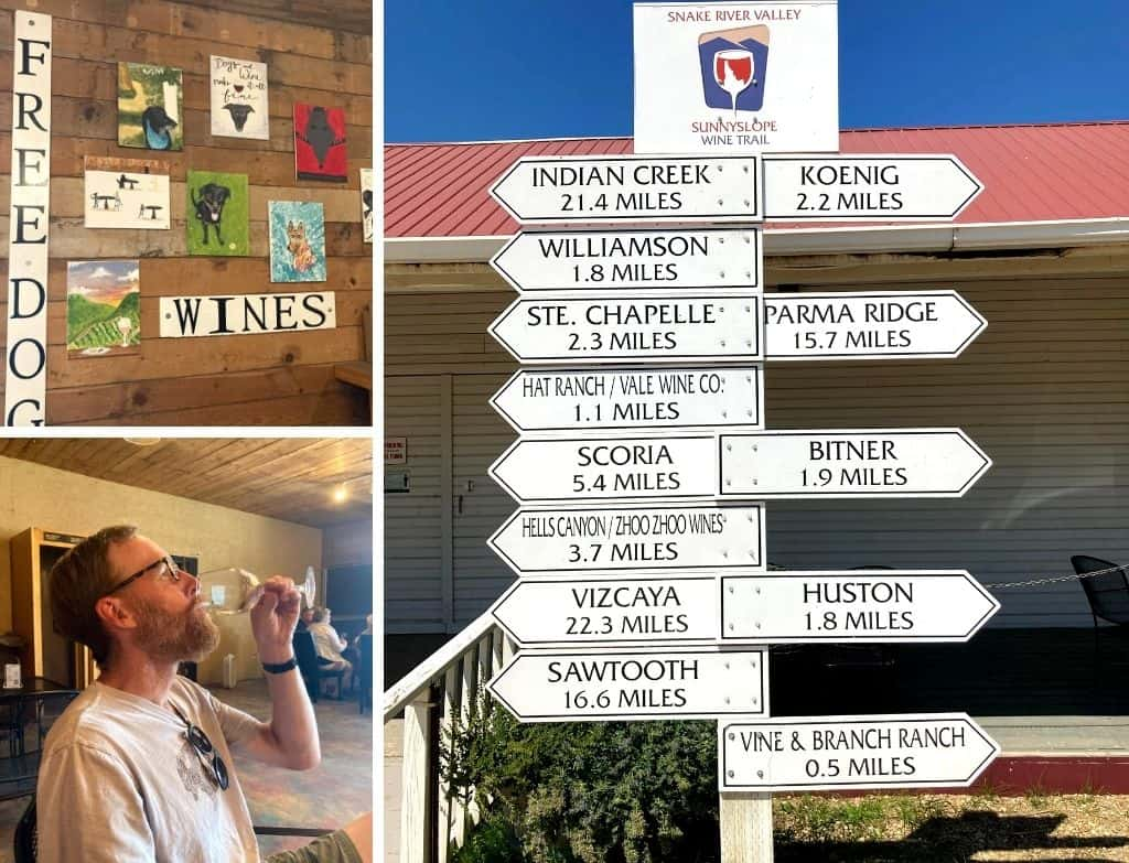A collage of photos featuring Fujishin Family Cellars and Free Dog Wines in Caldwell Idaho - art of the Sunnyslope Wine Trail.