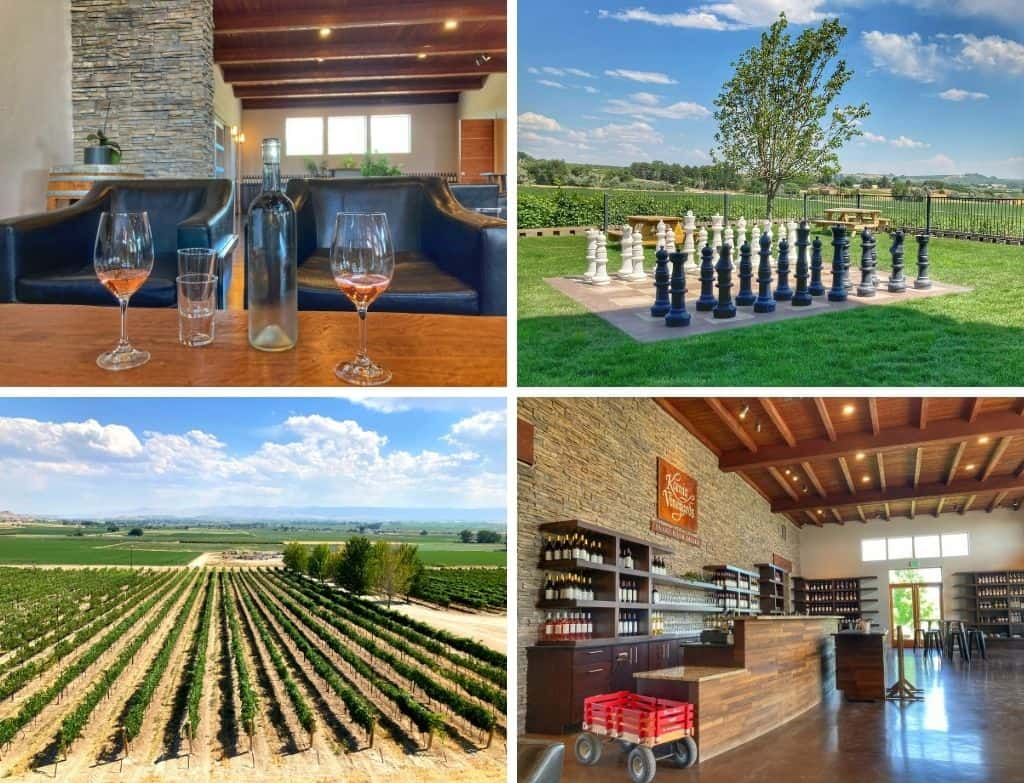 A collage of photos featuring the grounds and winery at Koenig Vineyards on the Sunnyslope Wine Trail in Caldwell, Idaho.