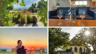 A collage of photos featuring vineyards and wineries in Caldwell, Idaho.