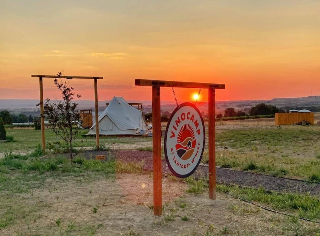 The sunset over the glamping tents at Sawtooth Winery in Caldwell, Idaho.