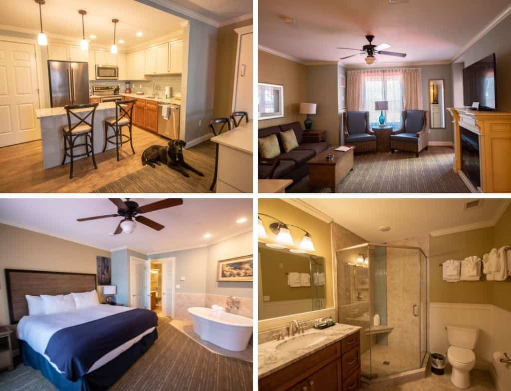 A collage of photos featuring the interior of the suites available at RiverWalk Resort at Loon Mountain in Lincoln, New Hampshire.