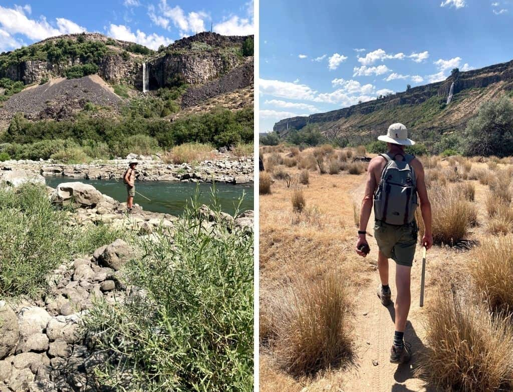 Two photos featuring the trails near Auger Falls in Twin Falls, Idaho. The trail is sandy and you can see waterfalls in the distance.