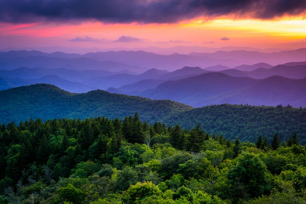 Sunset from Cowee Mountains Overlook on the Blue Ridge Parkway in North Carolina
