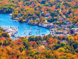 A fall view of Camden Harbor in Maine.