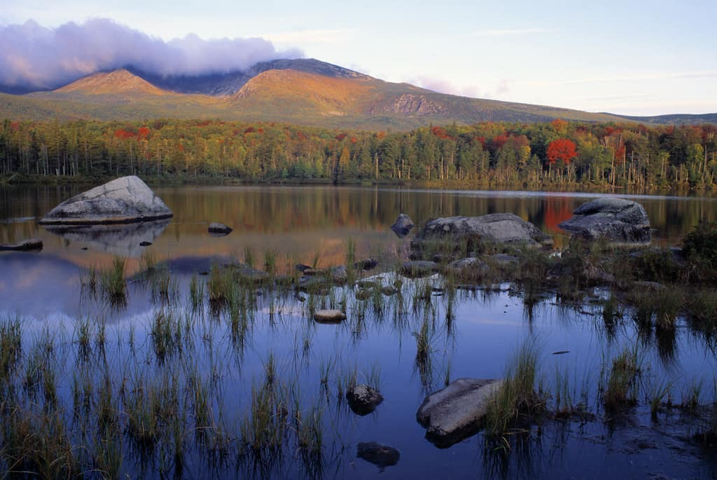 The view of Mount Katahdin in Baxter State Park, Maine.