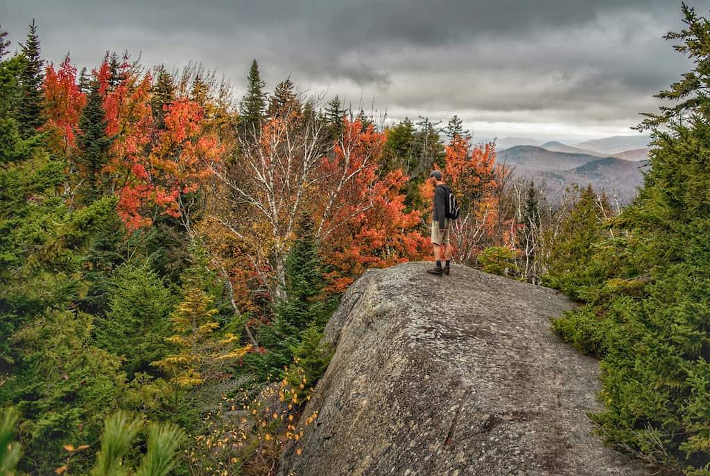 Climbing Mt. Jo in Lake Placid, New York during fall foliage season.