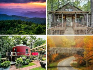 A collage of photos featuring the Blue Ridge Parkway in Virginia and North Carolina.