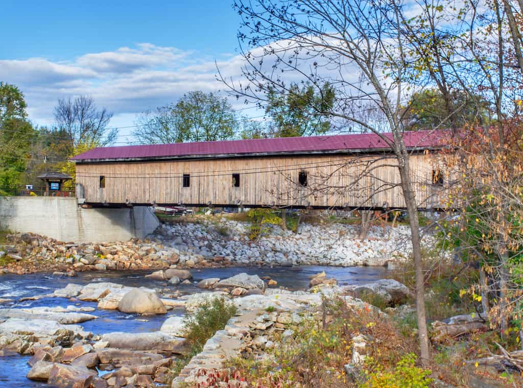 The Jay Covered Bridge in Jay, New York.