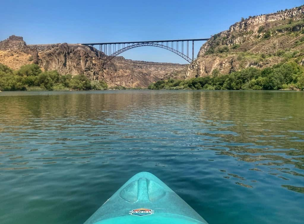 A view of Perrine Bridge in Twin Falls from a kayak on the Snake River.