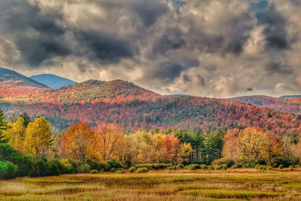 Fall foliage in the high peaks of the Adirondacks near Keene, New York.