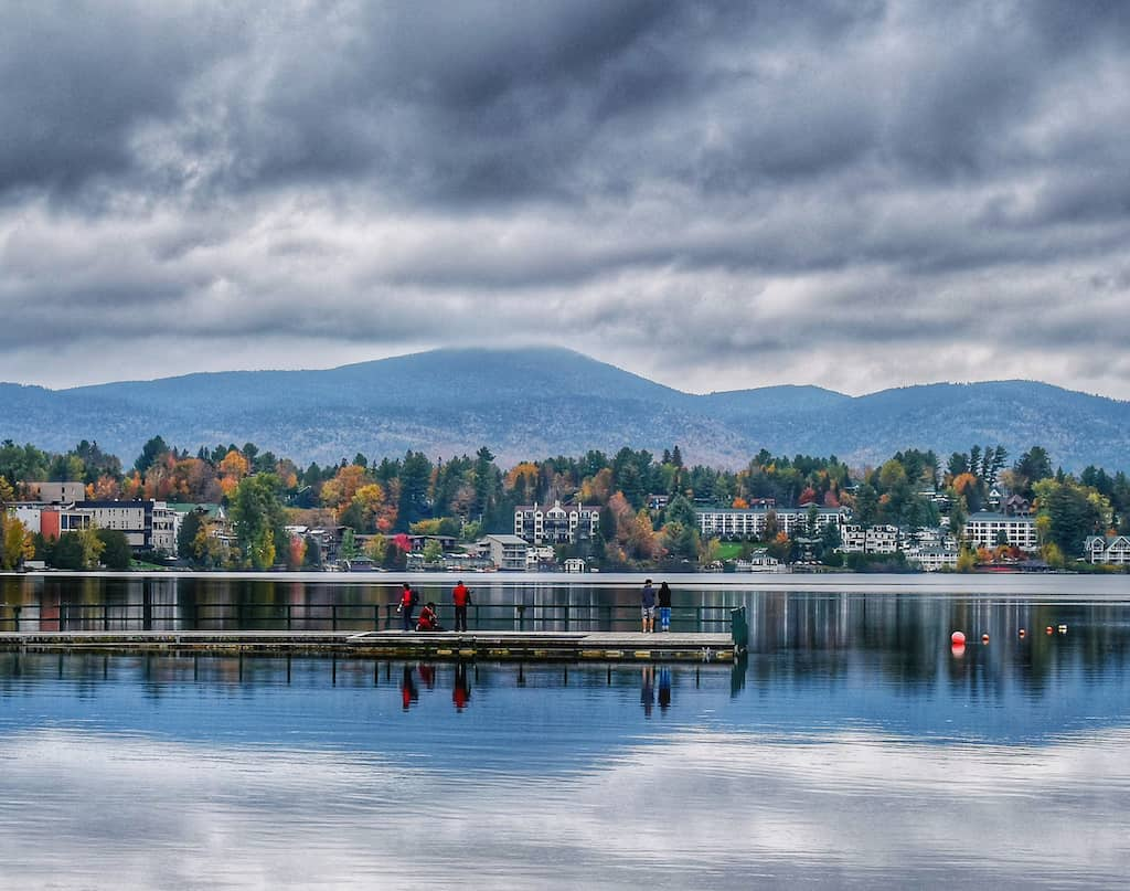 Mirror Lake in Lake Placid New York in the fall.