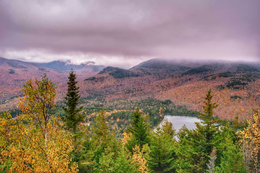 A fall foliage view of Heart Lake from the top of Mt. Jo in Lake Placid, New York.