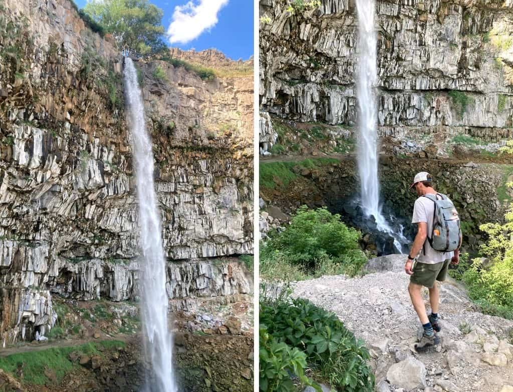 Two photos side-by-side featuring Perrine Coulee Falls in Twin Falls, Idaho.