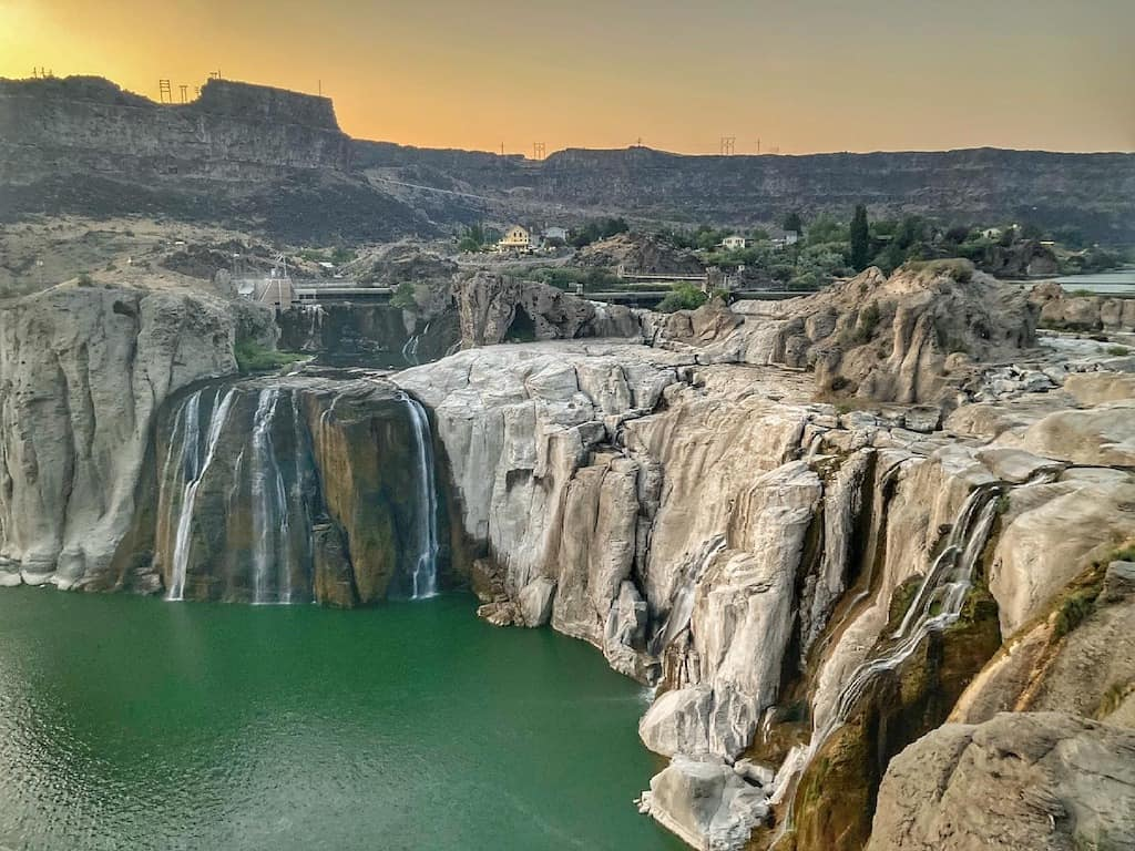A sunset view of Shoshone Falls in Twin Falls, Idaho. The photo was taken in July so the water level is low.