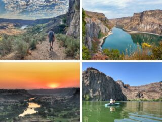 A collage of photos featuring outdoor activities in Twin Falls, Idaho.
