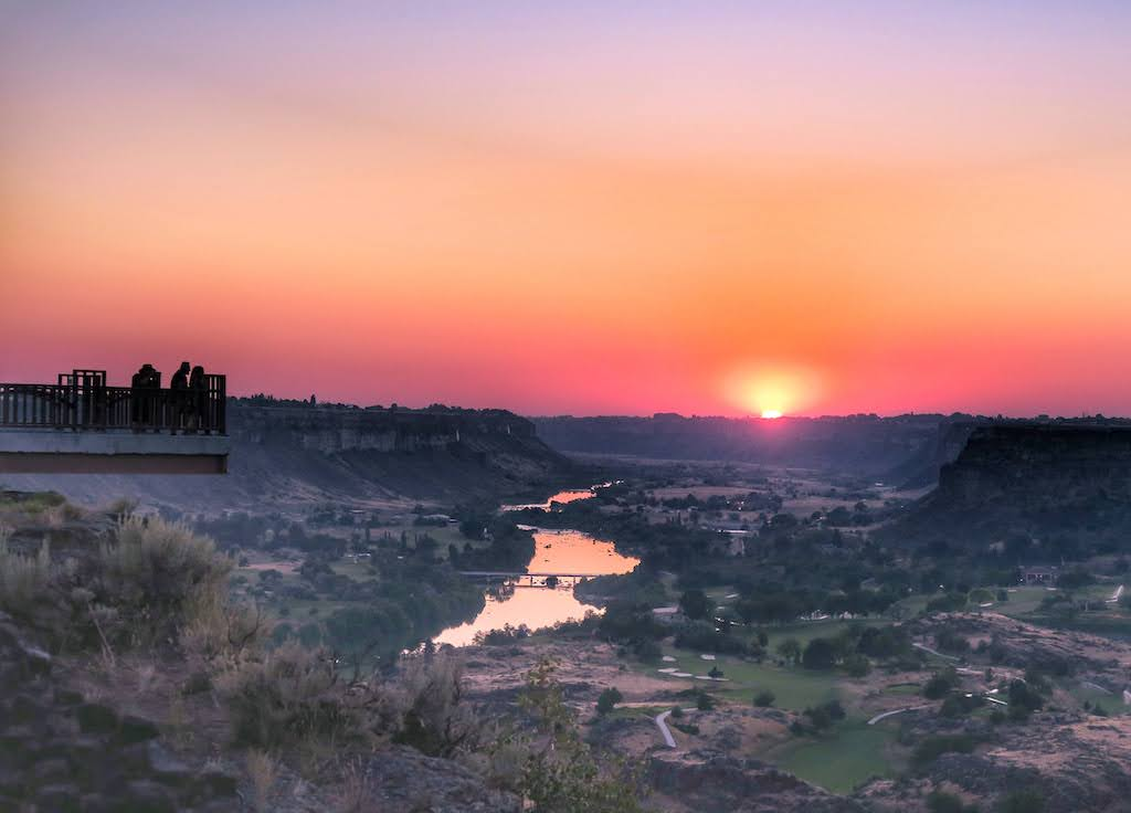 A sunset view of the Snake River Canyon as seen from the Twin Falls Visitor Center in Idaho.