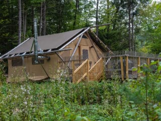a glamping tent in the Adirondacks New York.