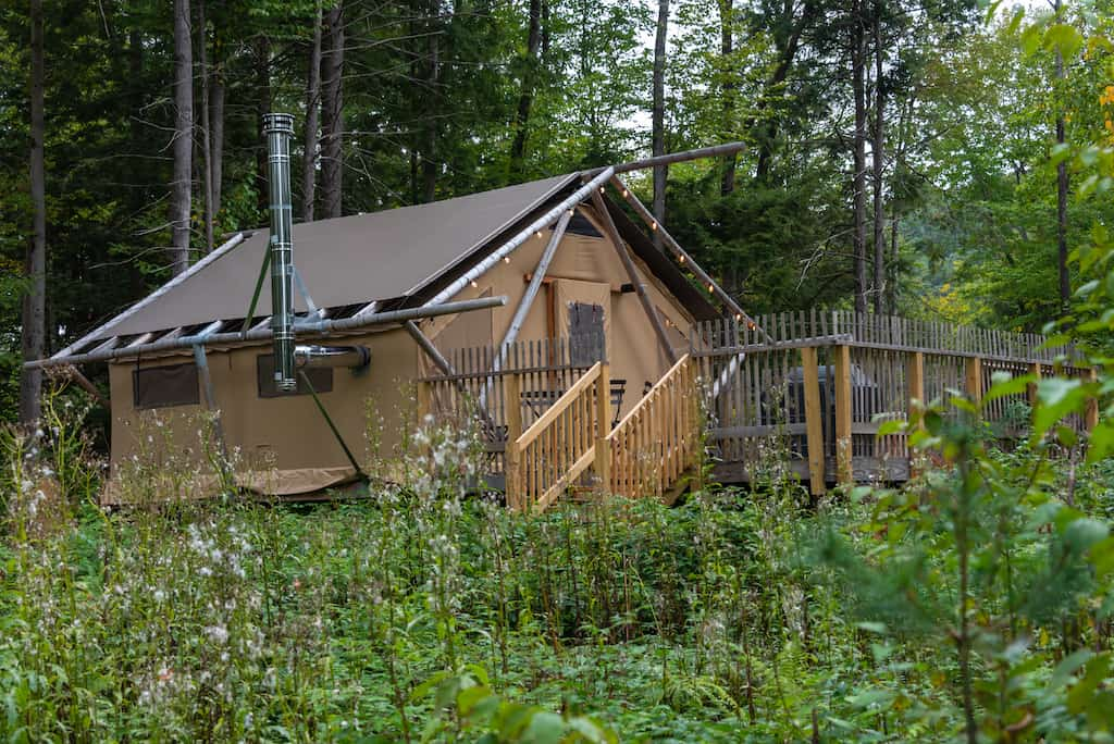 A Trappeur glamping tent at Huttopia Adirondacks in New York.