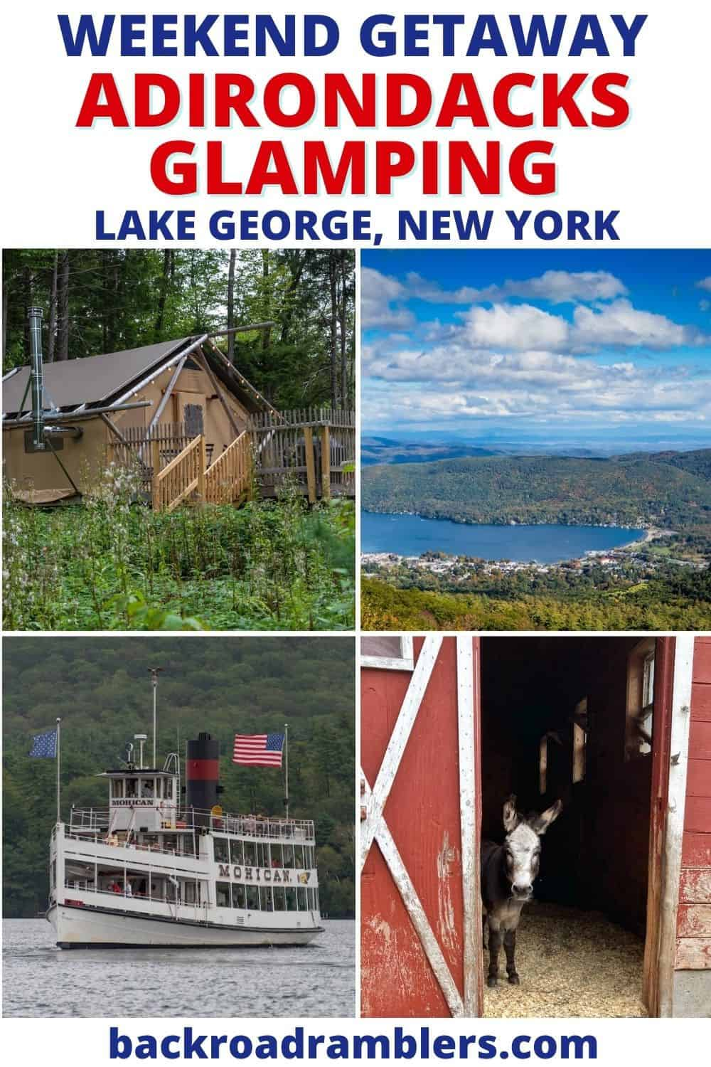 A collage of photos featuring Adirondacks glamping photos. Text overlay: Adirondack Glamping in Lake George, New York.