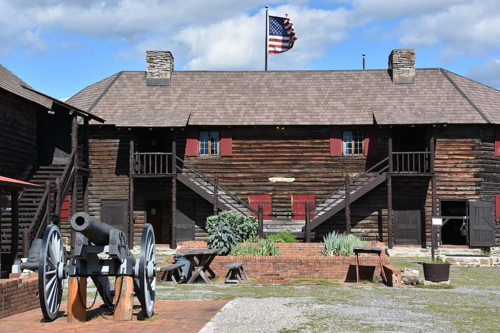 A cannon in front of Fort William Henry Museum in Lake George, NY.