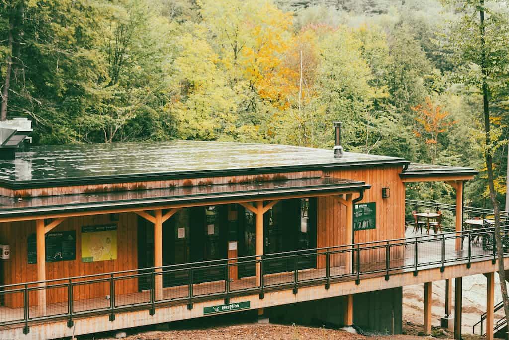 The Huttopia Adirondacks Lodge and Restaurant in Lake Luzerne, New York.
