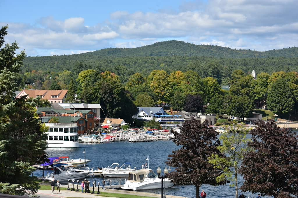 A view of Lake George Village from Fort William Henry in New York.