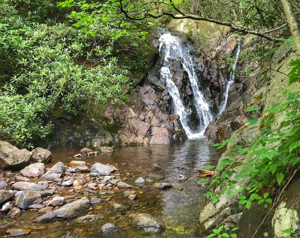 A small waterfall on Cabin Creek Trail in Grayson Highlands State Park in Virginia.