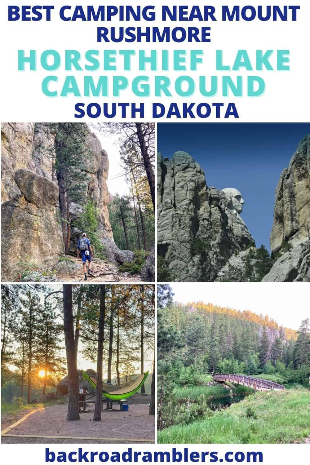 A collage of photos featuring campgrounds near Mount Rushmore in South Dakota.