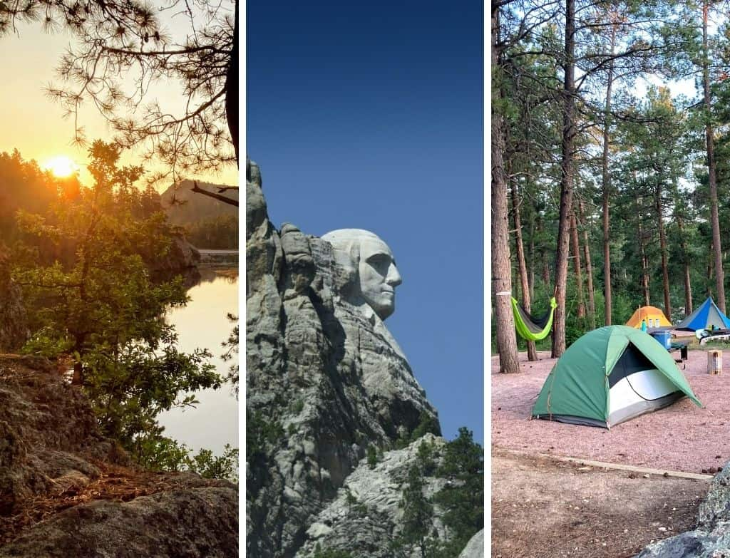 A collage of photos featuring camping near Mount Rushmore in South Dakota.