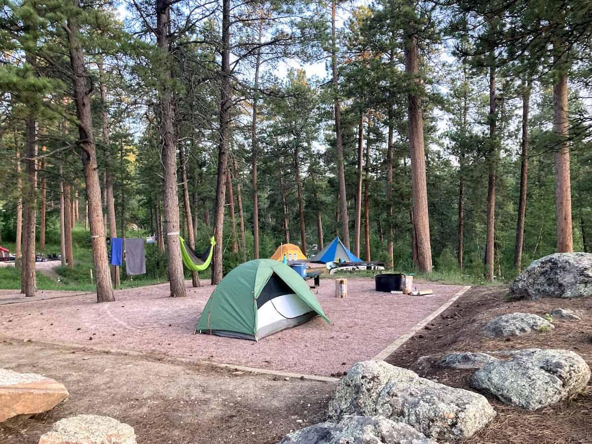 Campsite number 32 in Horsethief Lake Campground, South Dakota.