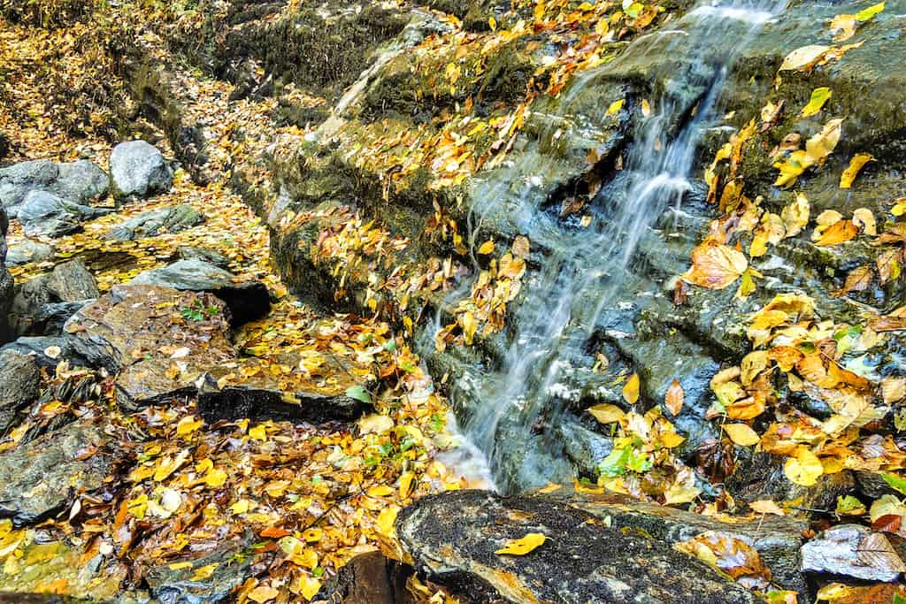 A close up of one of the smaller cacades at March Cataract Falls in the Berkshires of Massachusetts.