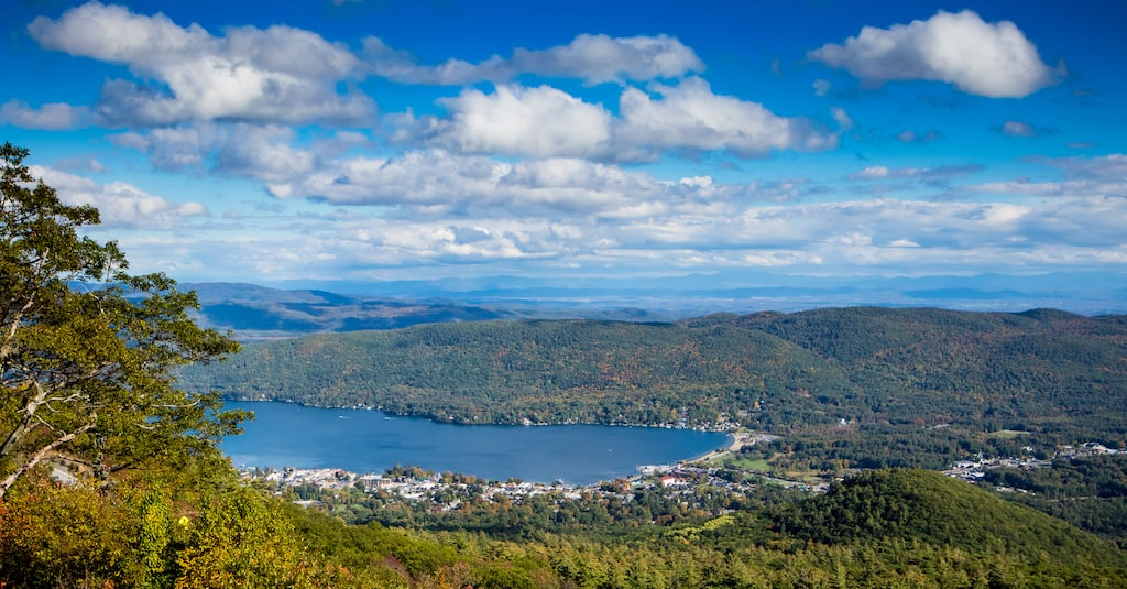 A autumn view of Lake George from Prospect Mountain in New York.