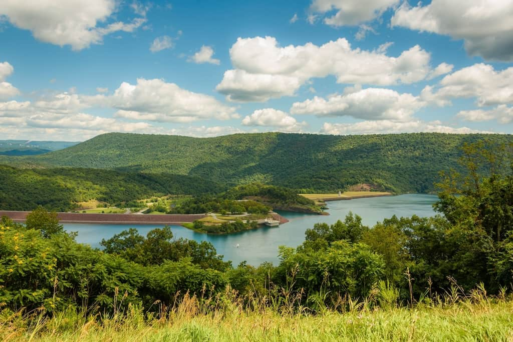 View of Raystown Lake from Ridenour Overlook, in Huntington, Pennsylvania.
