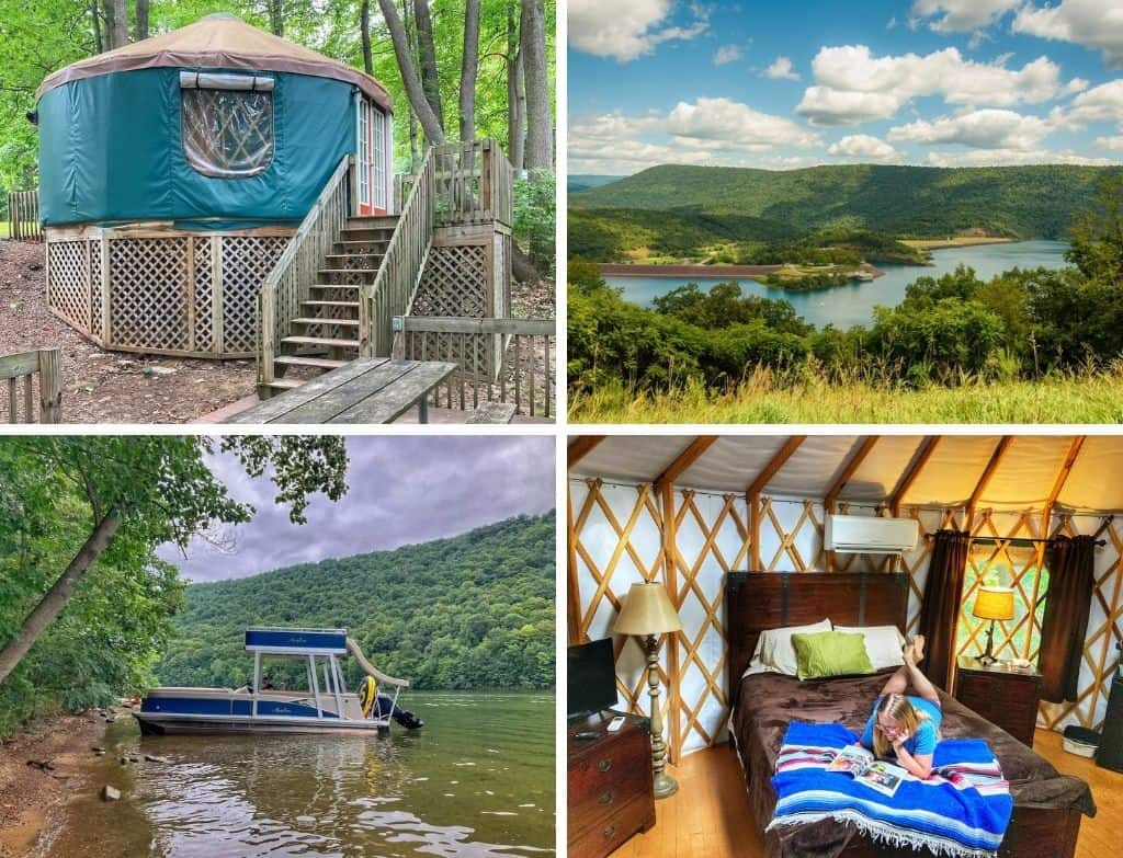 A collage of photos featuring Raystown Lake in Pennsylvania.
