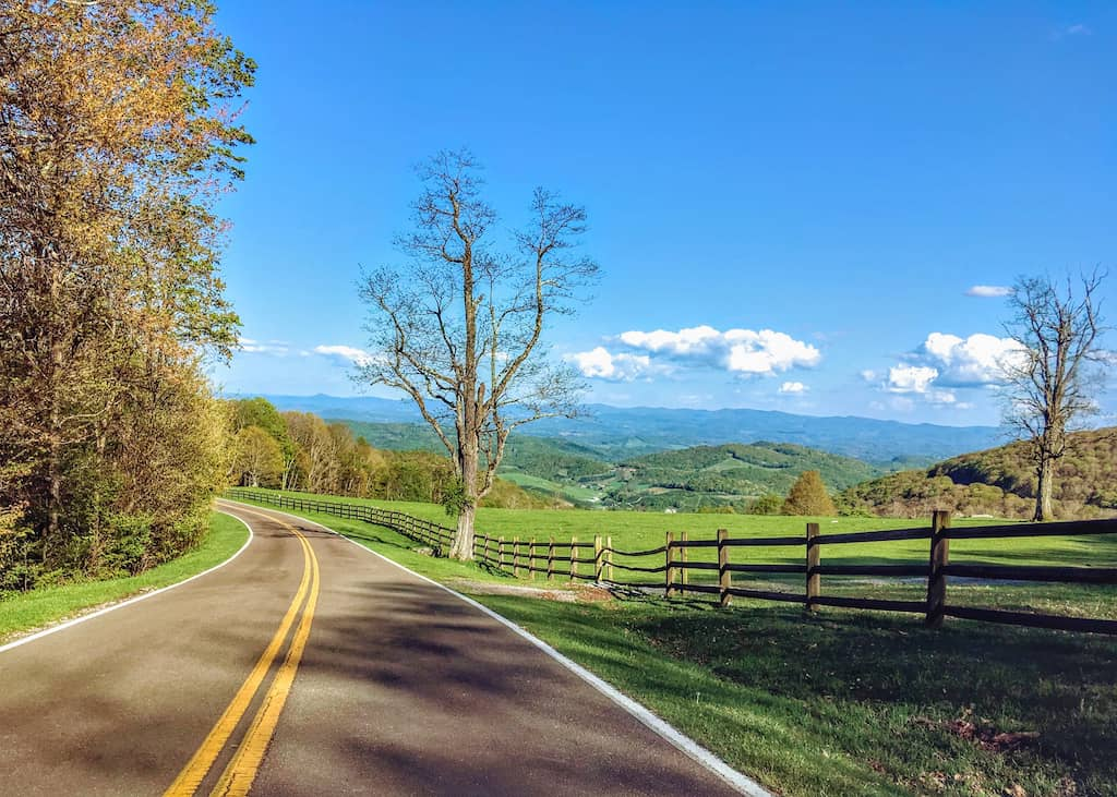 The entrance road leading into Grayson Highlands State Park in Virginia.