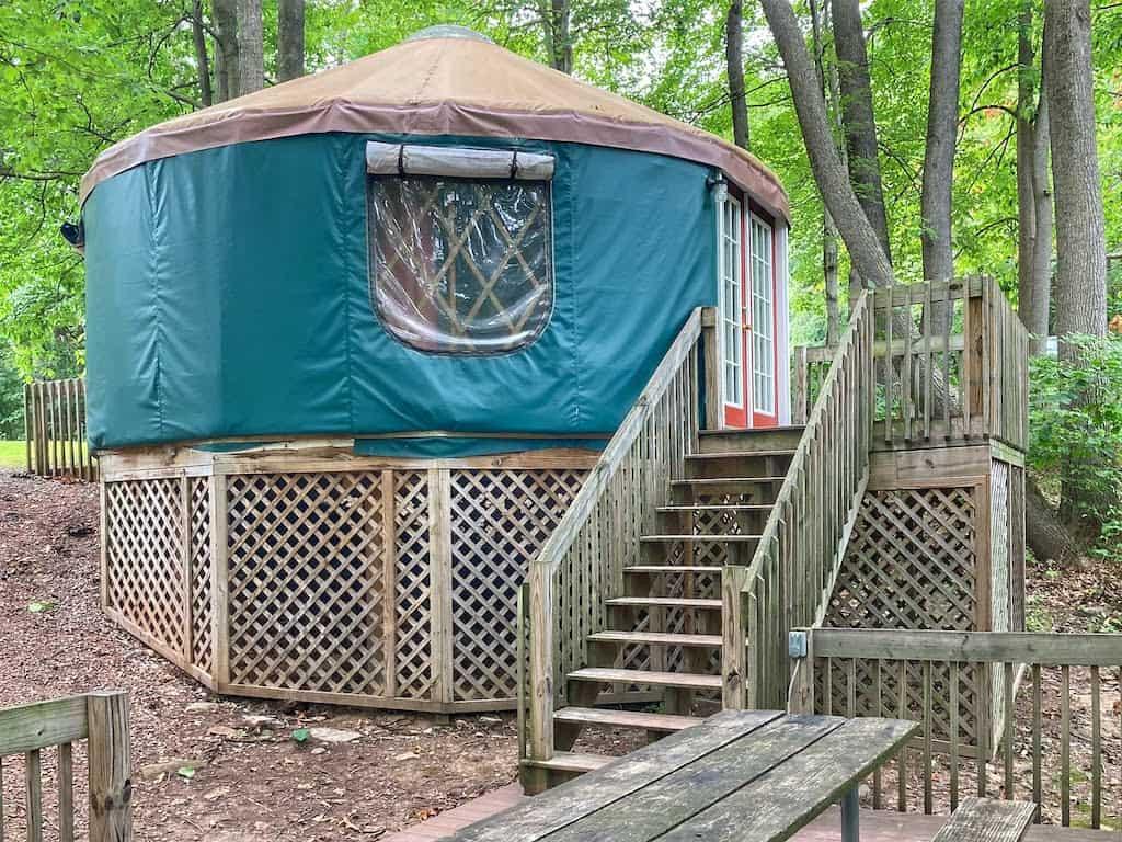 Our yurt rental at Lake Raystown Resort, Pennsylvania.