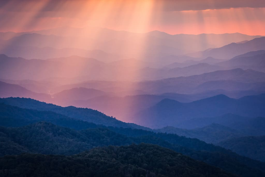 Sunset over the Blue Ridge Mountains on the Blue Ridge Parkway.