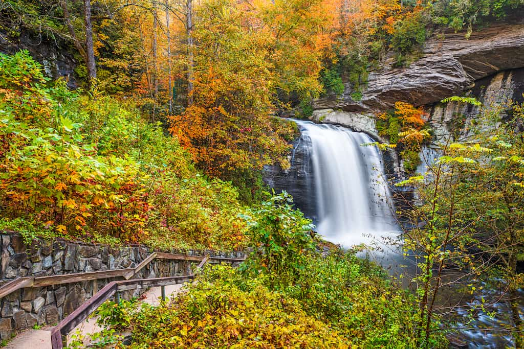 Looking Glass Falls in Pisgah National Forest, North Carolina.