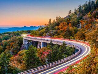 The Blue Ridge Parkway near the Linn Cove Viaduct in North Carolina.